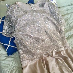 Cream ASOS tea dress with metallic overlay